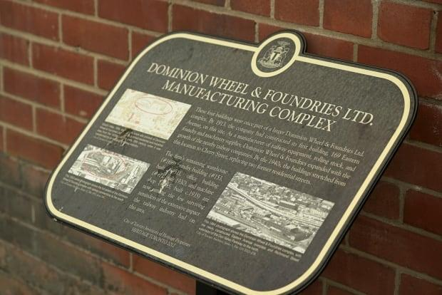 This Heritage Toronto plaque contains historical information about the Dominion Wheel and Foundries Ltd. Manufacturing Complex.