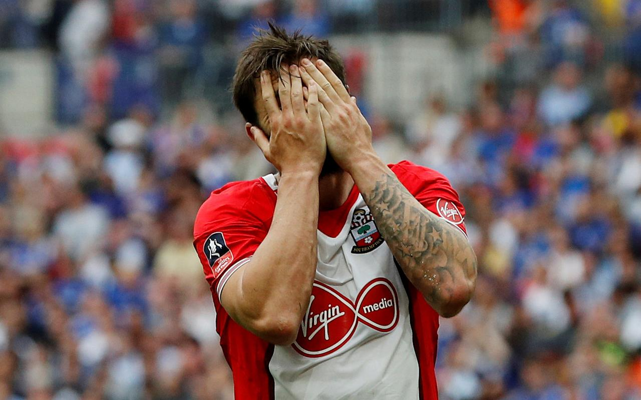 Soccer Football - FA Cup Semi Final - Chelsea v Southampton - Wembley Stadium, London, Britain - April 22, 2018   Southampton's Charlie Austin reacts after a missed chance               REUTERS/Darren Staples