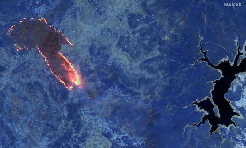A shortwave infrared image shows fires burning in a forest near Lake Eucumbene in Kosciuszko national park