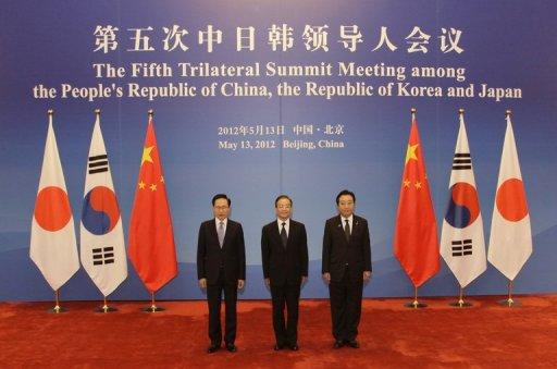"Leaders of China, Japan and S.Korea on Sunday agreed that they would ""not accept"" further North Korean nuclear tests"
