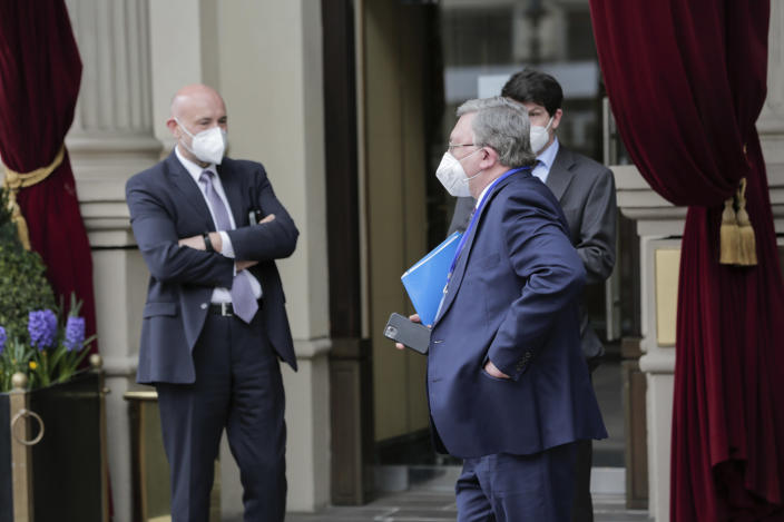 Mikhail Ulyanov, Russia's ambassador to the IAEA arrives at the Grand Hotel Wien where closed-door nuclear talks with Iran take place, in Vienna, Austria, Thursday, April 15, 2021. (AP Photo/Lisa Leutner)