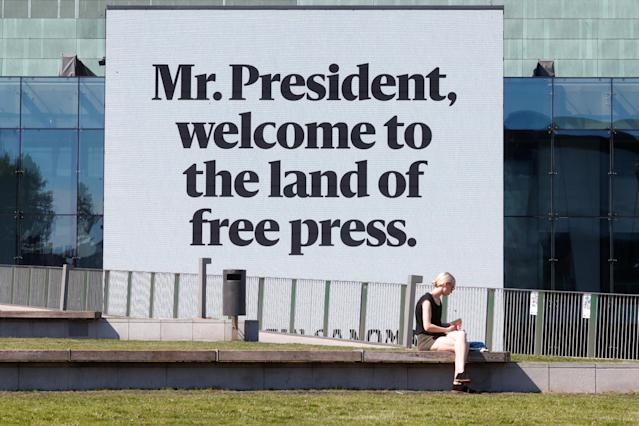 <p>A message is displayed on a video wall at the Helsinki Music Center, ahead of meeting between the President Donald Trump and Russian President Vladimir Putin in Helsinki, Finland, July 15, 2018. (Photo: Ints Kalnins/Reuters) </p>