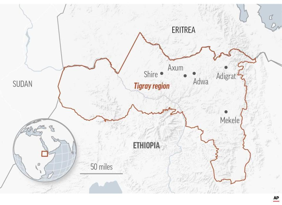 Map of the Tigray region in Ethiopia. More than 4.5 million people, or nearly the entire population, need emergency food.