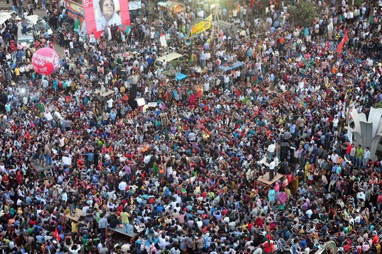 Bangladeshi social activists participate in a rally demanding the death sentence for the country's war criminals in Dhaka on February 11, 2013