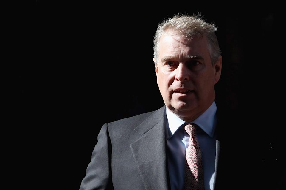 LONDON, ENGLAND - MARCH 07:  The Duke of York leaves the Headquarters of CrossRail in Canary Wharf on March 7, 2011 in London, England. Prince Andrew is under increasing pressure after a series of damaging revelations about him, including criticism over his friendship with convicted sex offender Jeffrey Epstein, an American financier surfaced.  (Photo by Dan Kitwood/Getty Images)