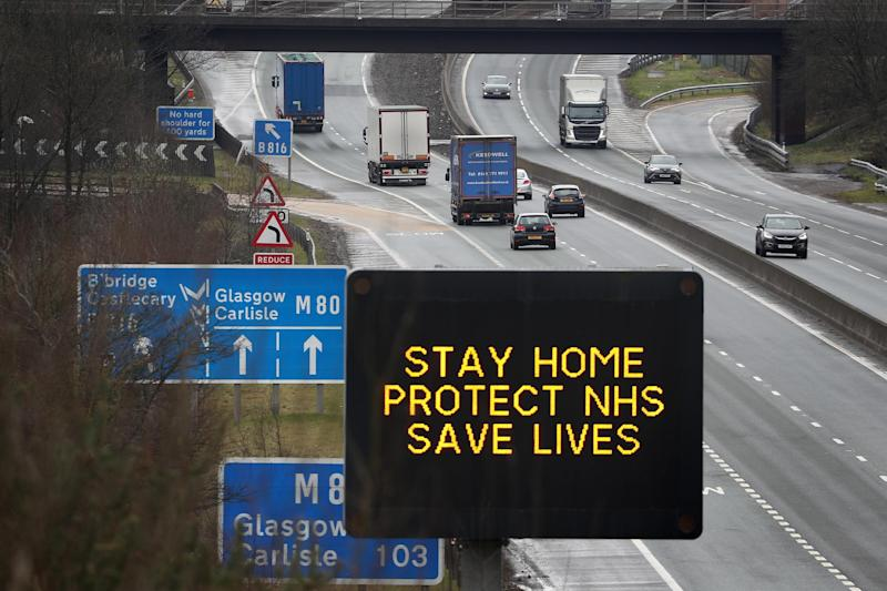 A UK road sign advising drivers to stay home protect NHS saves lives: PA