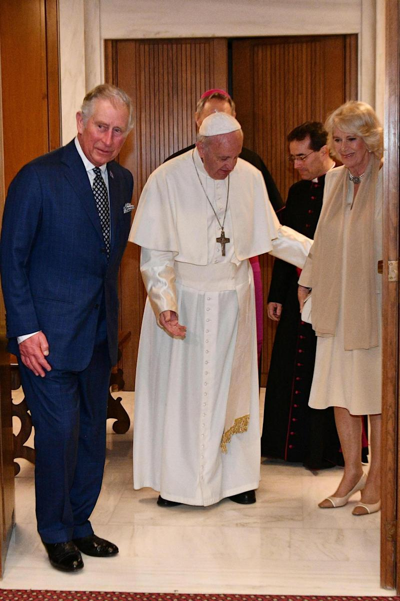 Greeting: Charles and Camilla arrive at the Vatican to meet the Pope (AFP/Getty Images)