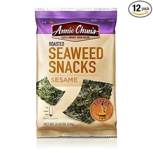 """<p>Seaweed snacks were always a childhood favorite, and <a href=""""https://www.popsugar.com/buy/Annie-Chun-Roasted-Seaweed-Snacks-410817?p_name=Annie%20Chun%27s%20Roasted%20Seaweed%20Snacks&retailer=amazon.com&pid=410817&price=18&evar1=fit%3Aus&evar9=45752863&evar98=https%3A%2F%2Fwww.popsugar.com%2Fphoto-gallery%2F45752863%2Fimage%2F45753409%2FFlavorful-Snack&list1=shopping%2Camazon%2Chealthy%20snacks%2Csnacks%2Clow%20calorie%2Clow-carb&prop13=api&pdata=1"""" class=""""link rapid-noclick-resp"""" rel=""""nofollow noopener"""" target=""""_blank"""" data-ylk=""""slk:Annie Chun's Roasted Seaweed Snacks"""">Annie Chun's Roasted Seaweed Snacks</a> ($18 for 12) come in yummy flavors like sesame or salt and vinegar.</p>"""