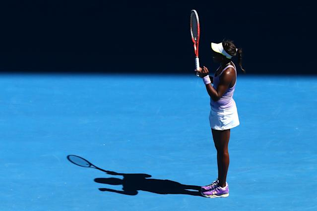 MELBOURNE, AUSTRALIA - JANUARY 23: Sloane Stephens of the United States celebrates winning her Quarterfinal match against Serena Williams of the United States during day ten of the 2013 Australian Open at Melbourne Park on January 23, 2013 in Melbourne, Australia. (Photo by Ryan Pierse/Getty Images)