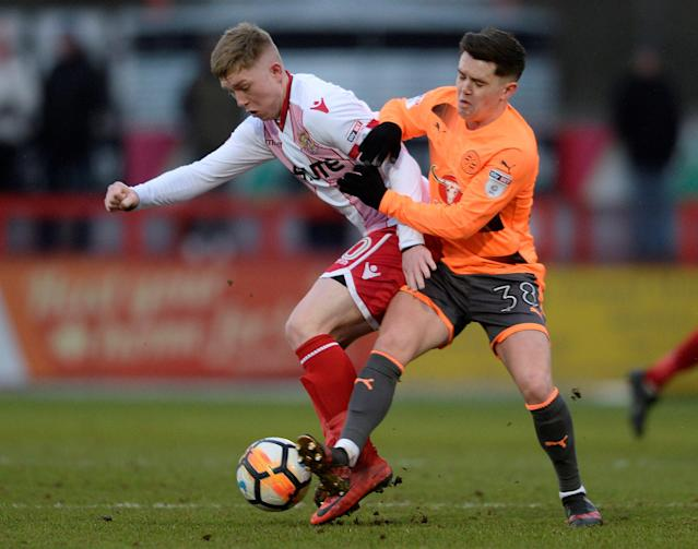 Soccer Football - FA Cup Third Round - Stevenage vs Reading - The Lamex Stadium, Stevenage, Britain - January 6, 2018 Stevenage's Mark McKee in action with Reading's Liam Kelly Action Images/Alan Walter