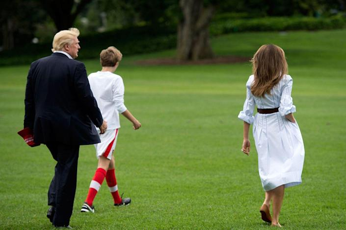 """<p>No, she doesn't bring juice boxes to practice, but Barron <a rel=""""nofollow noopener"""" href=""""https://www.redbookmag.com/life/a50711/melania-and-barron-trump-white-house-move/"""" target=""""_blank"""" data-ylk=""""slk:does play soccer"""" class=""""link rapid-noclick-resp"""">does play soccer</a>. He's part of D.C. United's Development Academy and his position is midfield.</p>"""