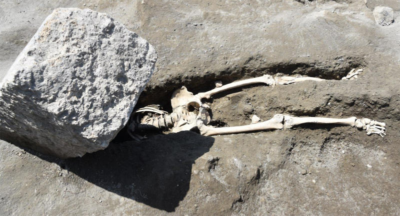 Pompeii skeleton found crushed under stone block while fleeing volcanic eruption