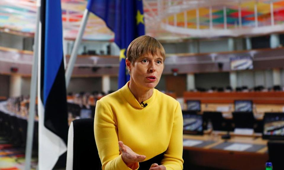 Estonia's president, Kersti Kaljulaid, has distanced herself from anti-Biden remarks made by the interior minister.