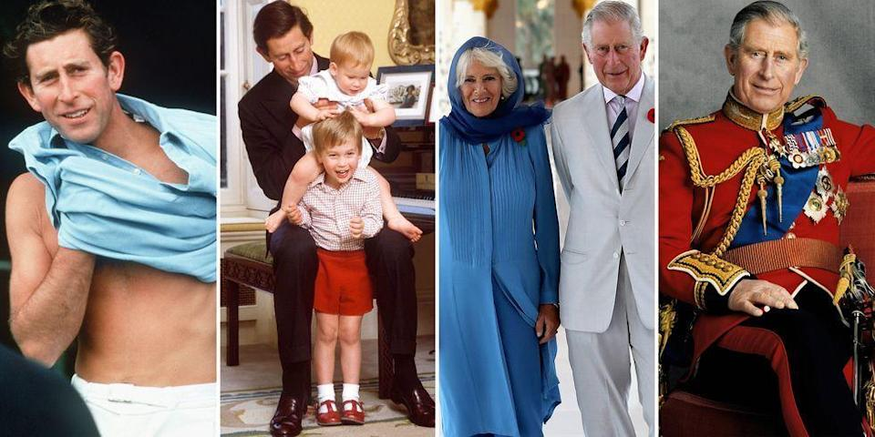 """<p>Charles, Prince of Wales, has led an extraordinary life as a royal. We've watched the 71-year-old <a href=""""https://www.harpersbazaar.com/celebrity/latest/a24594447/when-prince-charles-becomes-king-camilla-queen-consort/"""" rel=""""nofollow noopener"""" target=""""_blank"""" data-ylk=""""slk:heir to the throne"""" class=""""link rapid-noclick-resp"""">heir to the throne</a> journey from his childhood years to career milestones, marriages, and many travels around the world. Charles has served in the Royal Air Force and Royal Navy, holds great interest in architecture, and carries out hundreds of engagements each year. Aside from his royal duties, the eldest child of Queen Elizabeth II is also known as a family man—most notably as husband to Camilla; father to Princes William and Harry; and grandfather to Prince George, Princess Charlotte, Prince Louis, and <a href=""""https://www.harpersbazaar.com/celebrity/latest/g23781055/meghan-markle-pregnancy-announcement-royal-family-compared/"""" rel=""""nofollow noopener"""" target=""""_blank"""" data-ylk=""""slk:baby Archie"""" class=""""link rapid-noclick-resp"""">baby Archie</a>. Click through as we take a look back at some of his most memorable and important life moments in photos. </p>"""