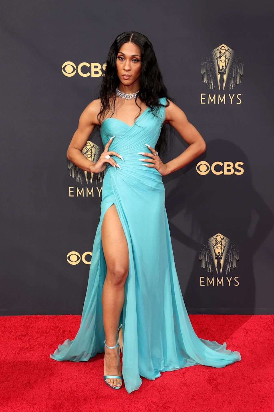 Michaela Jaé 'MJ' Rodriguez wears a turquoise gown at the 73rd Primetime Emmy Awards at L.A. LIVE on September 19, 2021 in Los Angeles, California. (Photo by Rich Fury/Getty Images)