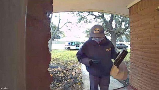 PHOTO: A USPS employee named Mary was caught on Lisette LeJeune's doorbell camera delivering a care package at her front door. (Courtesy Lisette LeJeune)