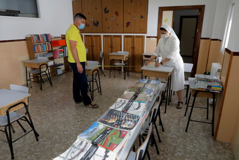 School prepares for the return of students, following COVID-19 outbreak, in Ronda