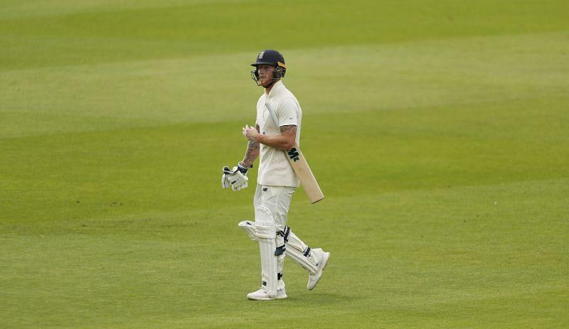 England's Ben Stokes returns to the pavilion after losing his wicket