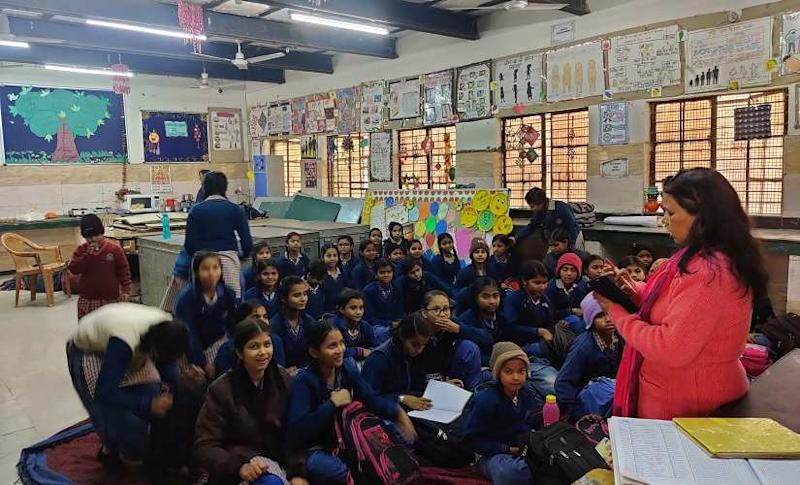 Students during one of their classes at the RSKV Jeejabai School. Image/Parth MN