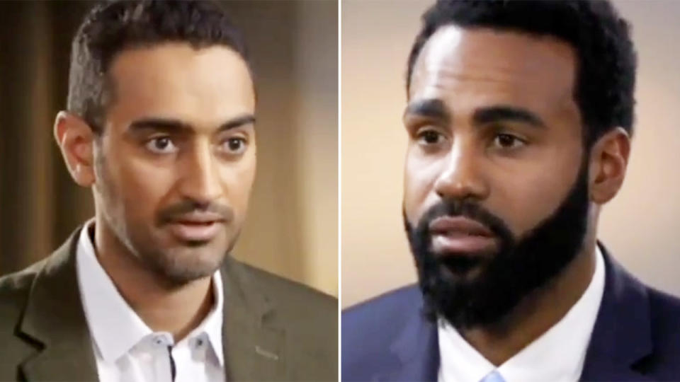 Waleed Aly and Heritier Lumumba, pictured here during their 2017 interview on The Project.