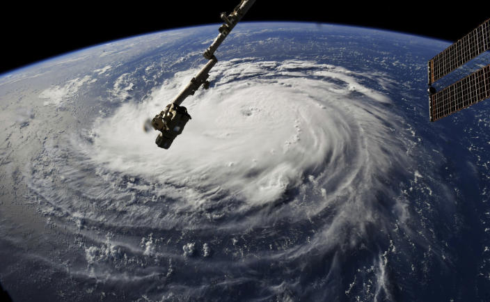 <p>This photo provided by NASA shows Hurricane Florence from the International Space Station on Monday, Sept. 10, 2018, as it threatens the U.S. East Coast. (Photo: NASA via AP) </p>