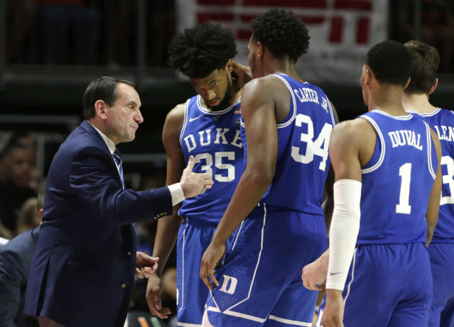 Could Mike Krzyzewski and the Blue Devils play themselves onto the top seed line with an ACC tournament win? (AP)