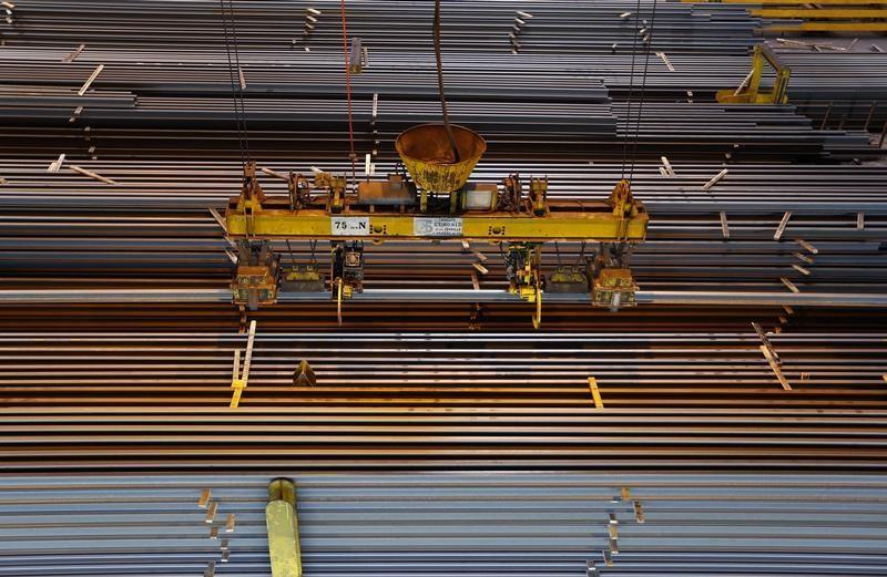 Rails ready for shipping are seen at the Tata Steel rails factory in Hayange