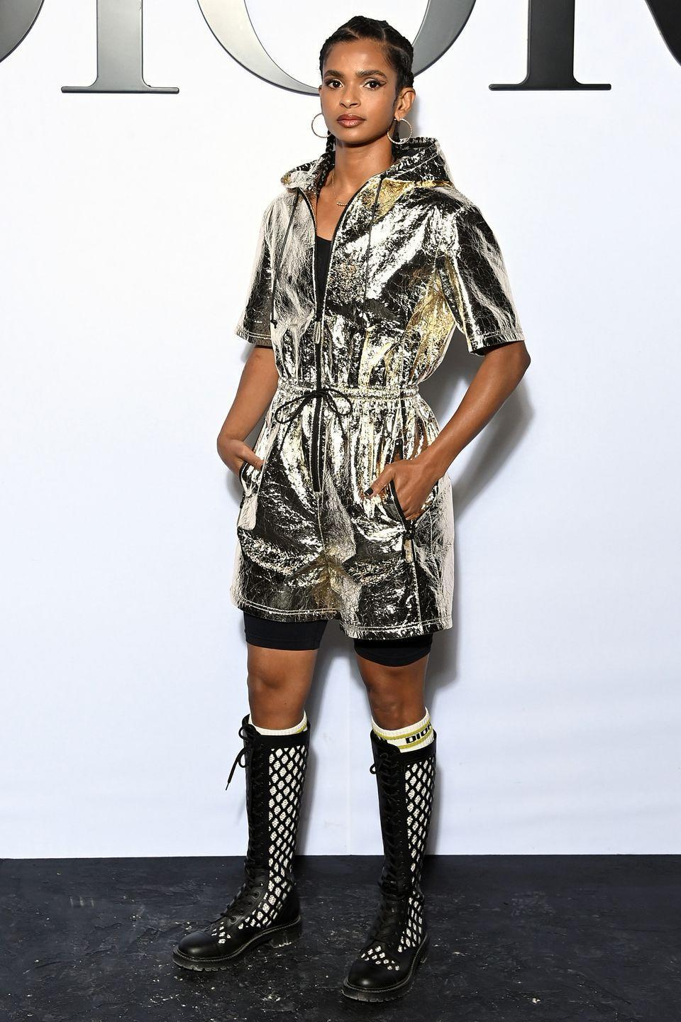 <p><strong>28 September</strong></p><p>Ramla Ali watched the show in a metallic look.</p>