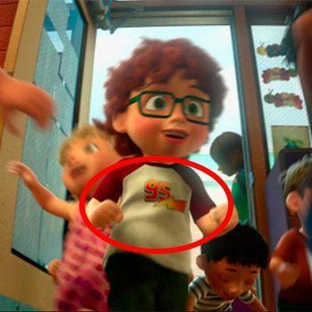 "<p>At Sunnyside Day Care in <em>Toy Story 3</em>, we see a child wearing a shirt with a lightning bolt and the number 95 on it. Ka-chow! That's a reference to Lightning McQueen. In addition to being the racer's number, 95 also <a href=""https://pixar.fandom.com/wiki/95"" rel=""nofollow noopener"" target=""_blank"" data-ylk=""slk:commemorates the year 1995"" class=""link rapid-noclick-resp"">commemorates the year 1995</a>, when <em>Toy Story </em>was released. </p>"