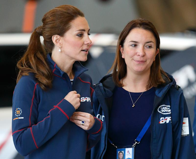 PORTSMOUTH, UNITED KINGDOM - JULY 26: (EMBARGOED FOR PUBLICATION IN UK NEWSPAPERS UNTIL 48 HOURS AFTER CREATE DATE AND TIME) Catherine, Duchess of Cambridge, accompanied by her Private Secretary Rebecca Deacon, visits the Ben Ainslie Racing (Land Rover BAR) team base as she attends the America's Cup World Series event on July 26, 2015 in Portsmouth, England. (Photo by Max Mumby/Indigo/Getty Images)