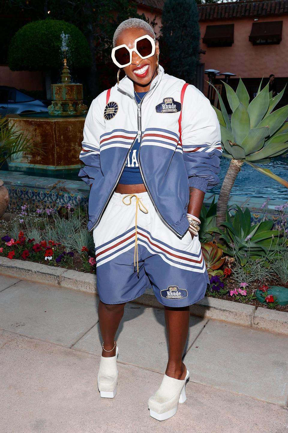 <p>Cynthia Erivo steps out in oversized sunglasses, a two-piece set and platform heels on June 23 at the Rhude SS22 Runway Show in Beverly Hills.</p>
