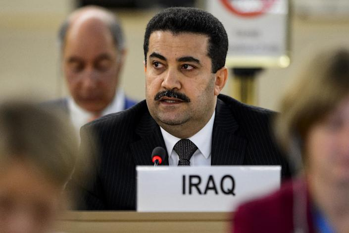 Iraq Human Rights Minister Mohammed Shia al-Sudani speaks at a special session of the United Nations Human Rights Council on September 1, 2014 at the UN Offices in Geneva (AFP Photo/Fabrice Coffrini)
