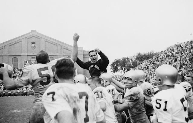 <p>Ara Parseghian (1923-2017): Hall of Fame football coach who won two national championships at Notre Dame. </p>