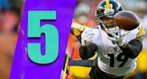 <p>The potential game-tying touchdown pass was somehow intercepted by Broncos nose tackle Shelby Harris, who wasn't even supposed to be in coverage. Those are the losses you regret, especially when playoff seeds are handed out. (JuJu Smith-Schuster) </p>
