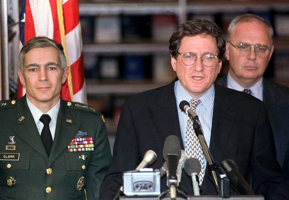 U.S. peace envoy Richard Holbrooke, accompanied by General Wesley Clark (L), announces the ceasefire agreement for Bosnia at the US embassy in Zagreb in this October 5, 1995. (Nikola Solic/Reuters)