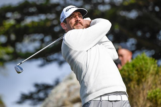 Aaron Rodgers tees off on the eleventh hole tee box during the first round of the AT&T Pebble Beach Pro-Am at Monterey Peninsula Country Club, on February 7, 2019 in Pebble Beach, California. (Photo by Ben Jared/PGA TOUR)
