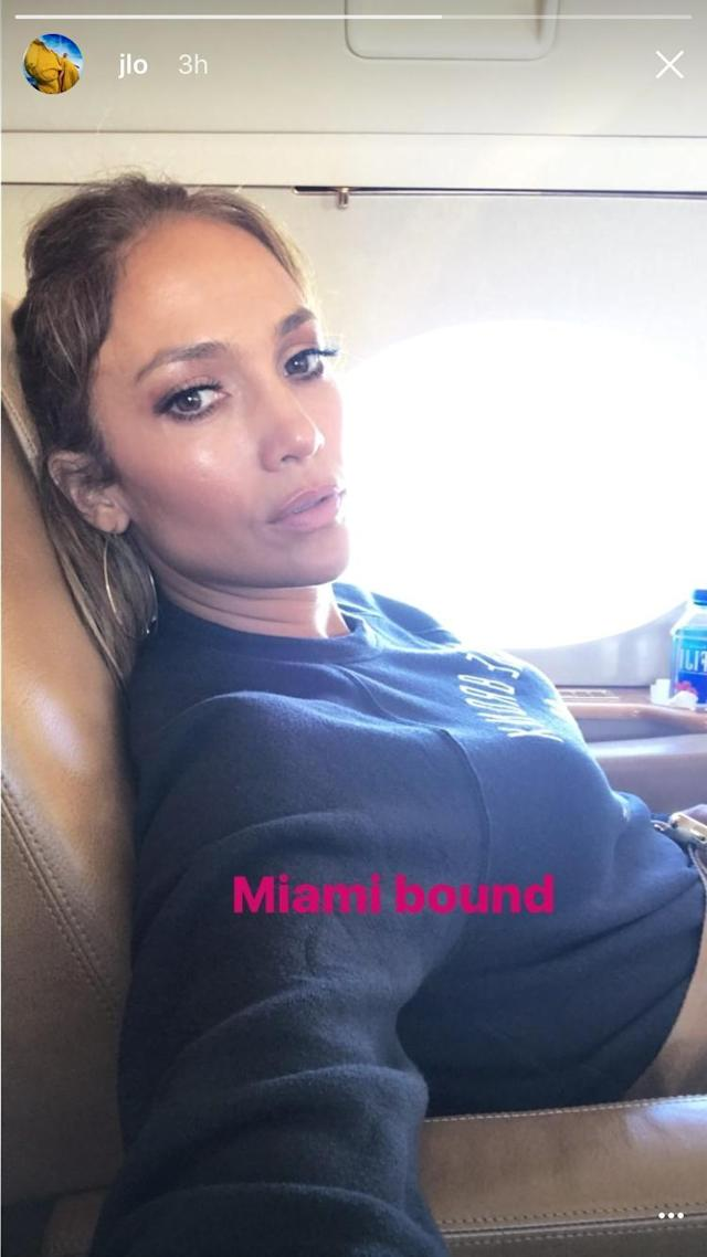 """<p>Jennifer Lopez gave followers a quick glimpse into her lux life, as she snapped a selfie while headed to Miami to hang with beau Alex Rodriguez at the MLB All-Star Game festivites. (Photo: <a href=""""https://www.instagram.com/p/BWRBdMZFOoJ/?taken-by=jlo"""" rel=""""nofollow noopener"""" target=""""_blank"""" data-ylk=""""slk:Jennifer Lopez via Instagram"""" class=""""link rapid-noclick-resp"""">Jennifer Lopez via Instagram</a>) </p>"""