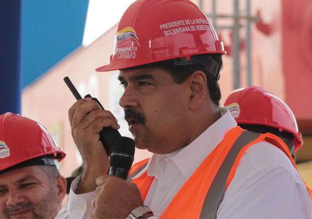 Venezuela's President Nicolas Maduro attends the opening ceremony of a container terminal at the port in La Guaira