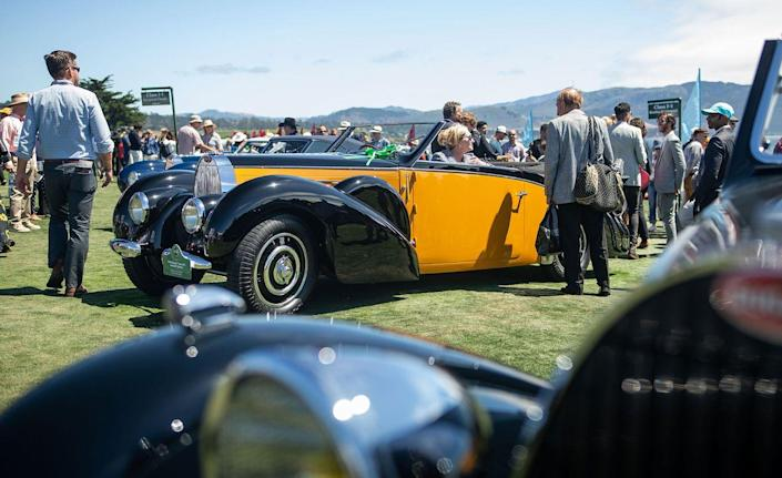 """<p>Okay, it feels like cheating to pick a Bugatti Type 57C as one of our favorites from Pebble Beach, but here we are. The <a href=""""https://www.caranddriver.com/news/a26555686/bugatti-la-voiture-noire-photos-info/"""" rel=""""nofollow noopener"""" target=""""_blank"""" data-ylk=""""slk:Type 57SC Atlantic"""" class=""""link rapid-noclick-resp"""">Type 57SC Atlantic</a>, a coupe, is such a fixture in the world of high-value car shows that you forget Bugatti <em>also</em> made open-top Type 57s. This example is a stunner with its two-tone paint job and perfect brightwork. A similar Type 57C Stelvio by Gangloff sold this weekend <a href=""""https://www.goodingco.com/vehicle/1938-bugatti-type-57c-stelvio/"""" rel=""""nofollow noopener"""" target=""""_blank"""" data-ylk=""""slk:at the Gooding & Co. auction"""" class=""""link rapid-noclick-resp"""">at the Gooding & Co. auction</a> for $1.3 million.<em>—Mike Magrath</em></p>"""