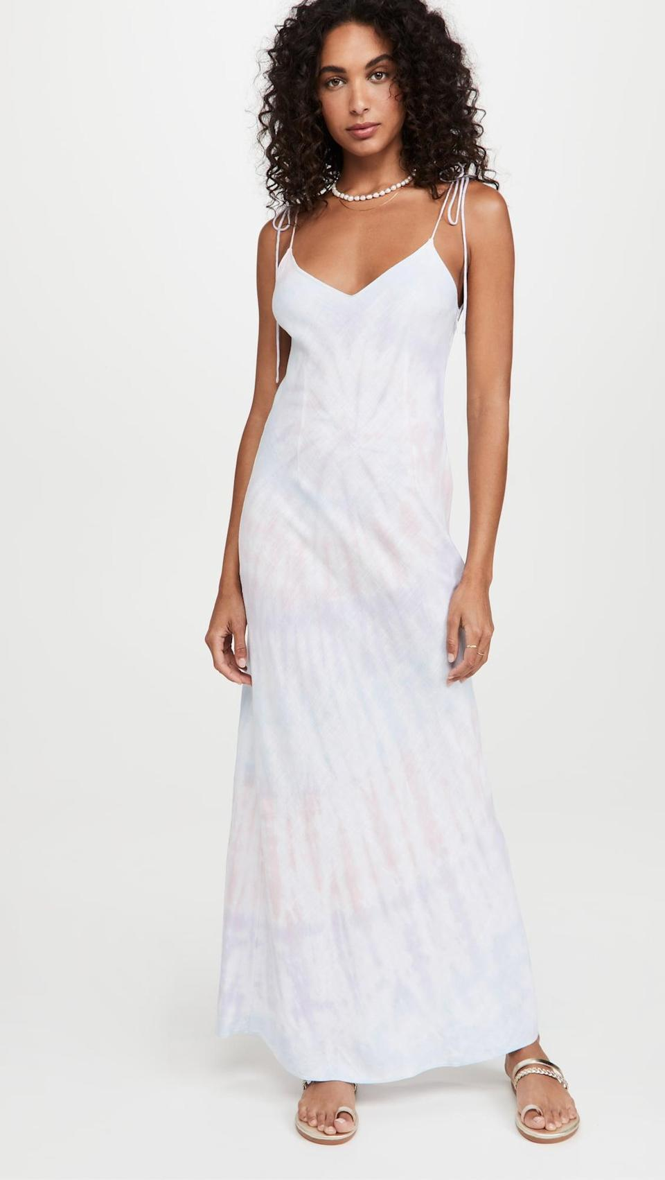 <p>This <span>Dannijo Tie Strap Dress</span> ($495) is a muted tie-dye that's still fun and exciting. Plus, the slip silhouette is super flattering.</p>