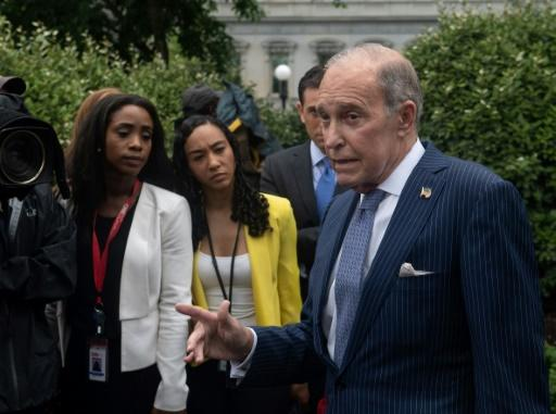 """White House economic aide Larry Kudlow, pictured July 2018, warns not to """"underestimate"""" Trump on trade, but a dip in auto exports and rising oil prices has increased the gap between US imports and exports, causing the US trade deficit to swell"""