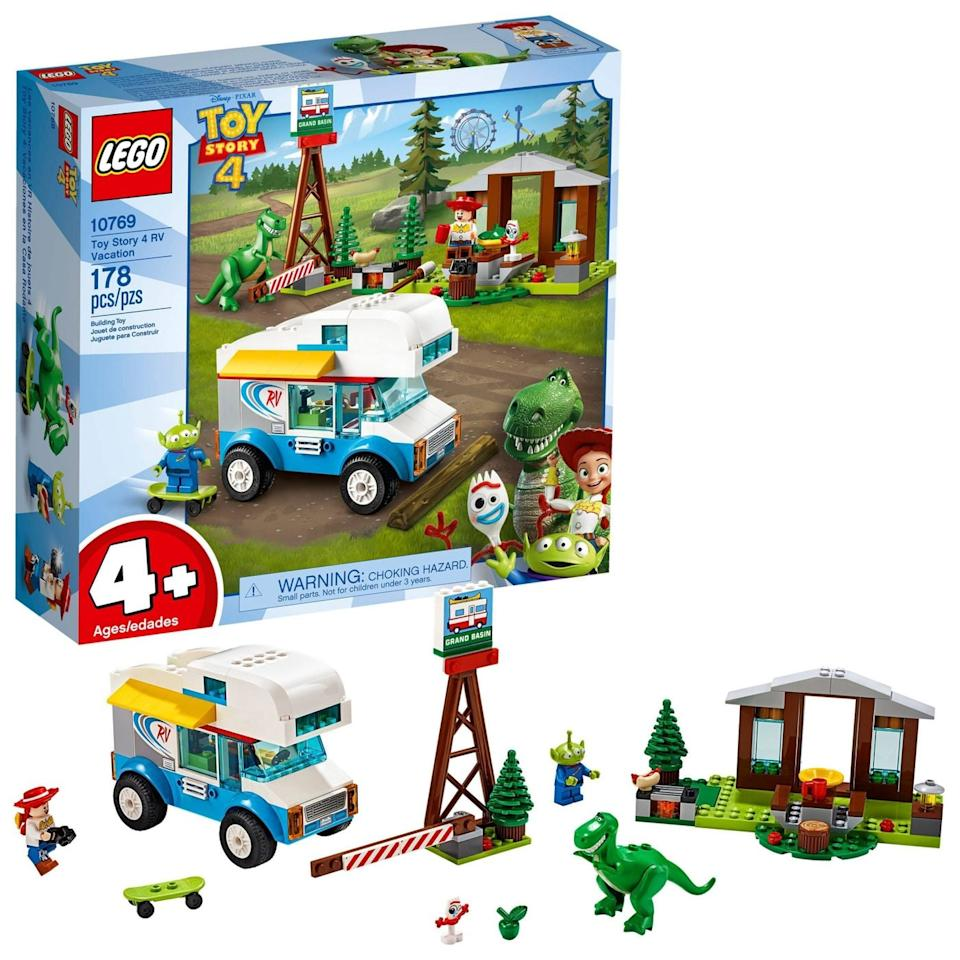"""<p>The <a href=""""https://www.popsugar.com/buy/Lego-strongToy-Story-4strong-RV-Vacation-set-480429?p_name=Lego%20%3Cstrong%3EToy%20Story%204%3C%2Fstrong%3E%20RV%20Vacation%20set&retailer=amazon.com&pid=480429&evar1=moms%3Aus&evar9=46502951&evar98=https%3A%2F%2Fwww.popsugar.com%2Fphoto-gallery%2F46502951%2Fimage%2F46502980%2FLego-Toy-Story-4-RV-Vacation&list1=toys%2Cgift%20guide%2Clego%2Ctoy%20story%2Cparenting%20gift%20guide%2Ctoy%20fair%2Ctoy%20story%204%2Ckids%20toys%2Cbest%20of%202019&prop13=api&pdata=1"""" rel=""""nofollow"""" data-shoppable-link=""""1"""" target=""""_blank"""" class=""""ga-track"""" data-ga-category=""""Related"""" data-ga-label=""""https://www.amazon.com/LEGO-Disney-Pixars-Vacation-Building/dp/B07JLZPS6M"""" data-ga-action=""""In-Line Links"""">Lego <strong>Toy Story 4</strong> RV Vacation set</a> ($28, originally $35) has 178 pieces and is for kids ages 4 and up.</p>"""