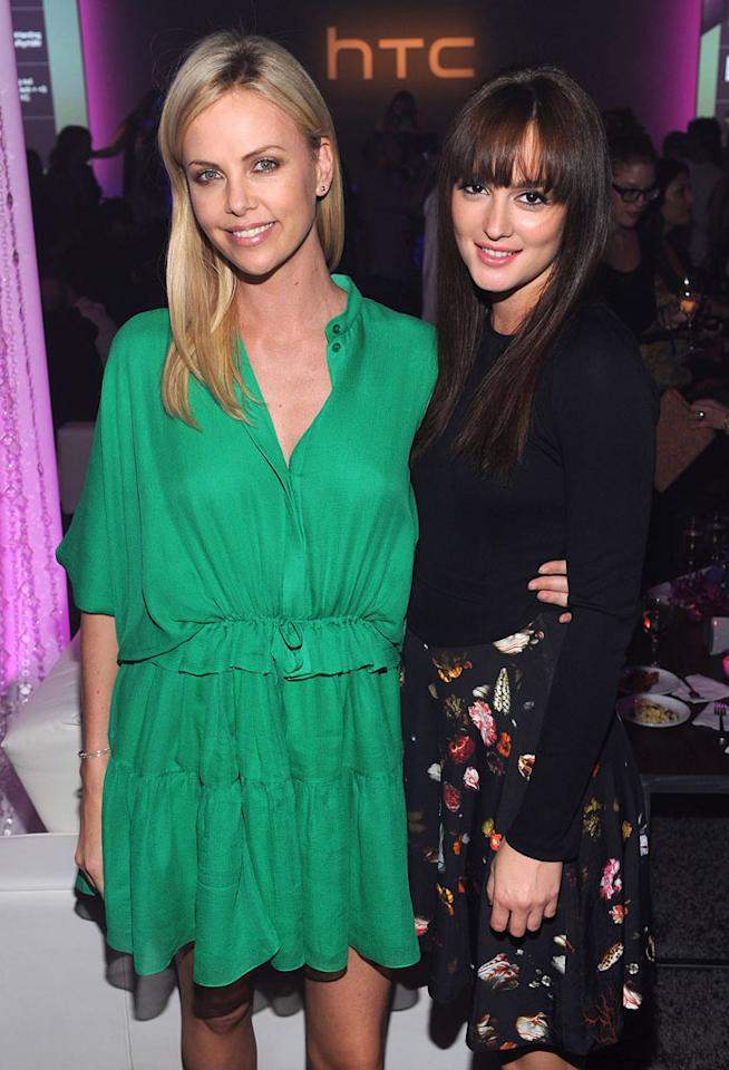 """Oscar winner Charlize Theron (""""Monster"""") and """"Gossip Girl"""" star Leighton Meester were all smiles upon arriving at the launch party for HTC's highly anticipated Android handset, the Rhyme. Dimitrios Kambouris/<a href=""""http://www.wireimage.com"""" target=""""new"""">WireImage.com</a> - September 21, 2011"""
