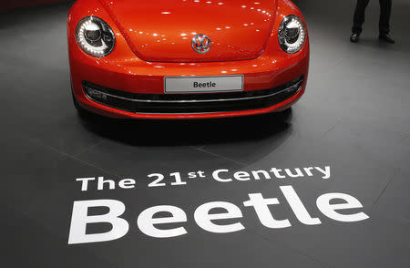 A Volkswagen Beetle car is pictured at the Indian Auto Expo in Greater Noida, on the outskirts of New Delhi, India, February 3, 2016. REUTERS/Anindito Mukherjee/Files