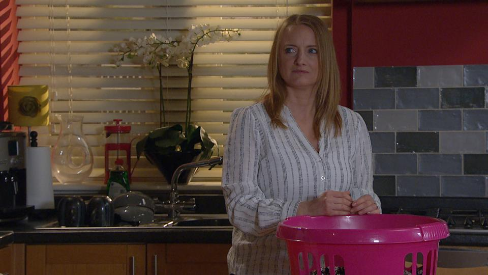 FROM ITV  STRICT EMBARGO  Print media - No Use Before Tuesday 6th July 2021 Online Media - No Use Before Tuesday 6th July 2021  Emmerdale - Ep 9102  Friday 16th July 2021  Will Jimmy King [NICK MILES]  admit the truth about his kiss with Mandy to Nicola King [NICOLA WHEELER?   Picture contact David.crook@itv.com   This photograph is (C) ITV Plc and can only be reproduced for editorial purposes directly in connection with the programme or event mentioned above, or ITV plc. Once made available by ITV plc Picture Desk, this photograph can be reproduced once only up until the transmission [TX] date and no reproduction fee will be charged. Any subsequent usage may incur a fee. This photograph must not be manipulated [excluding basic cropping] in a manner which alters the visual appearance of the person photographed deemed detrimental or inappropriate by ITV plc Picture Desk. This photograph must not be syndicated to any other company, publication or website, or permanently archived, without the express written permission of ITV Picture Desk. Full Terms and conditions are available on  www.itv.com/presscentre/itvpictures/terms