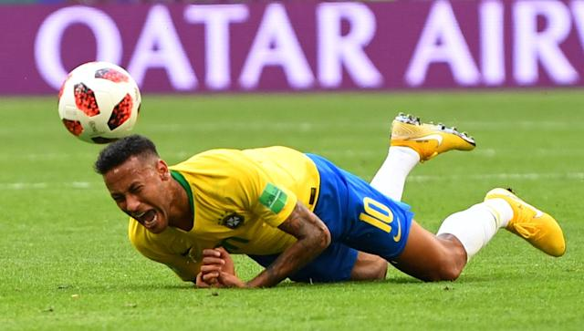 <p>Brazil's Neymar reacts during the match REUTERS/Dylan Martinez </p>