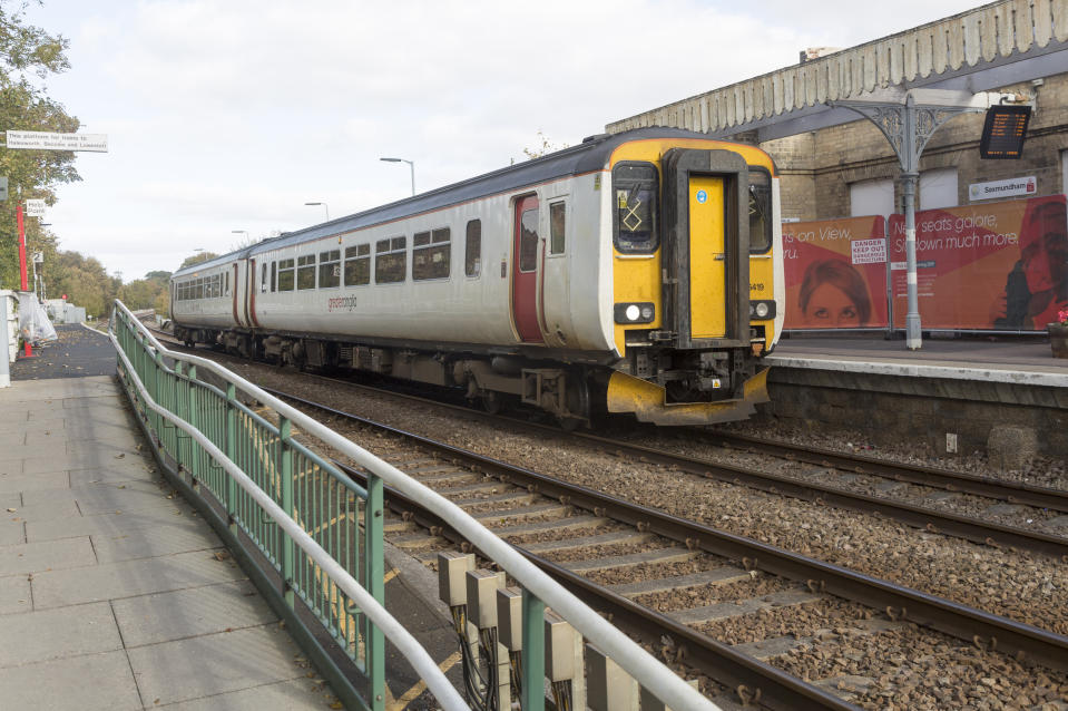 Railway station, Saxmundham, Suffolk, England, UK British Rail Class 156 Super Sprinter diesel multiple unit Greater Anglia train. (Photo by: Geography Photos/Universal Images Group via Getty Images)
