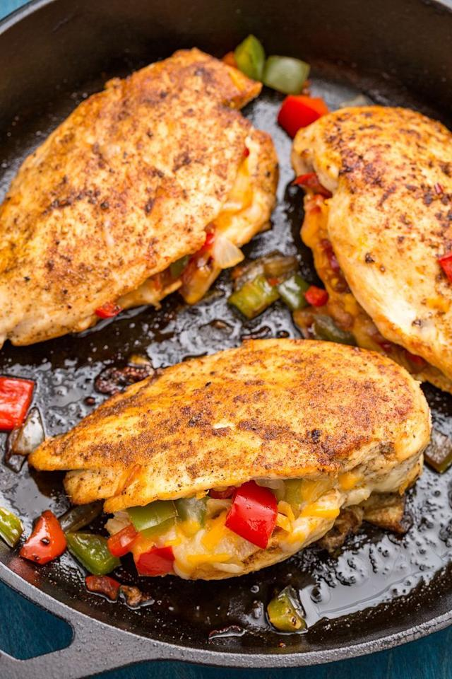 "<p>The perfect dinner for any night of the week.</p><p>Get the <a href=""https://www.delish.com/uk/cooking/recipes/a29649539/cajun-stuffed-chicken-recipe/"" target=""_blank"">Cajun-Stuffed Chicken</a> recipe.</p>"