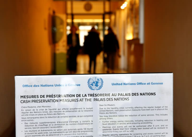 A sign is pictured at the entrance of a side door at the United Nations European headquarters in Geneva