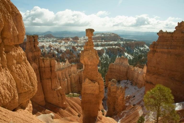 A light snowfall is pictured in Bryce Canyon National Park in Utah on April 16, 2018